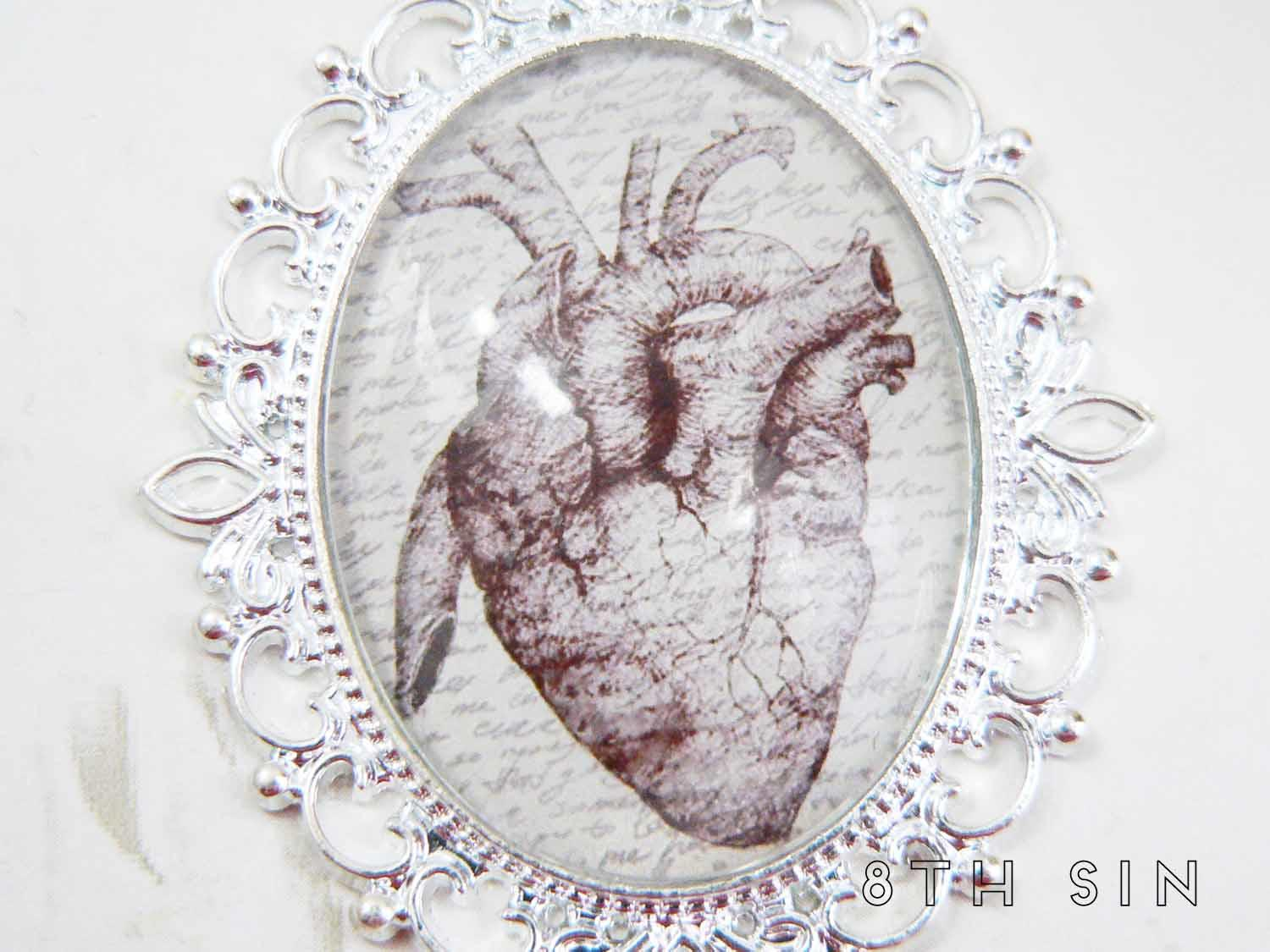 antique silver anatomical heart necklace