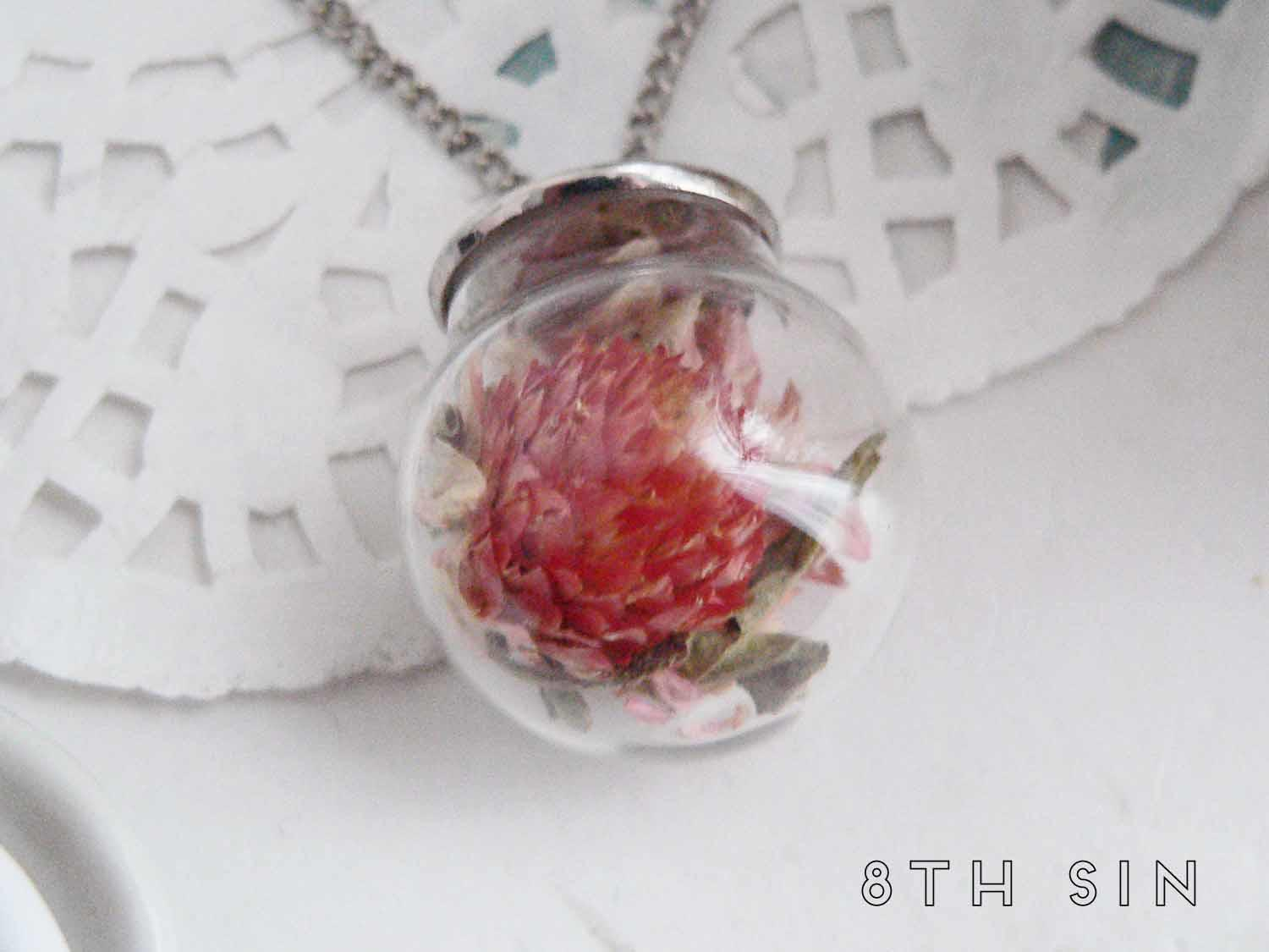 antique silver and red amaranth terrarium necklace