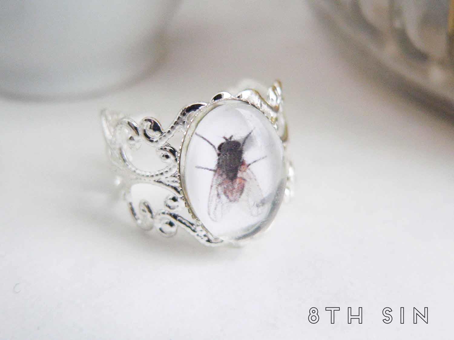 antique silver fly ring