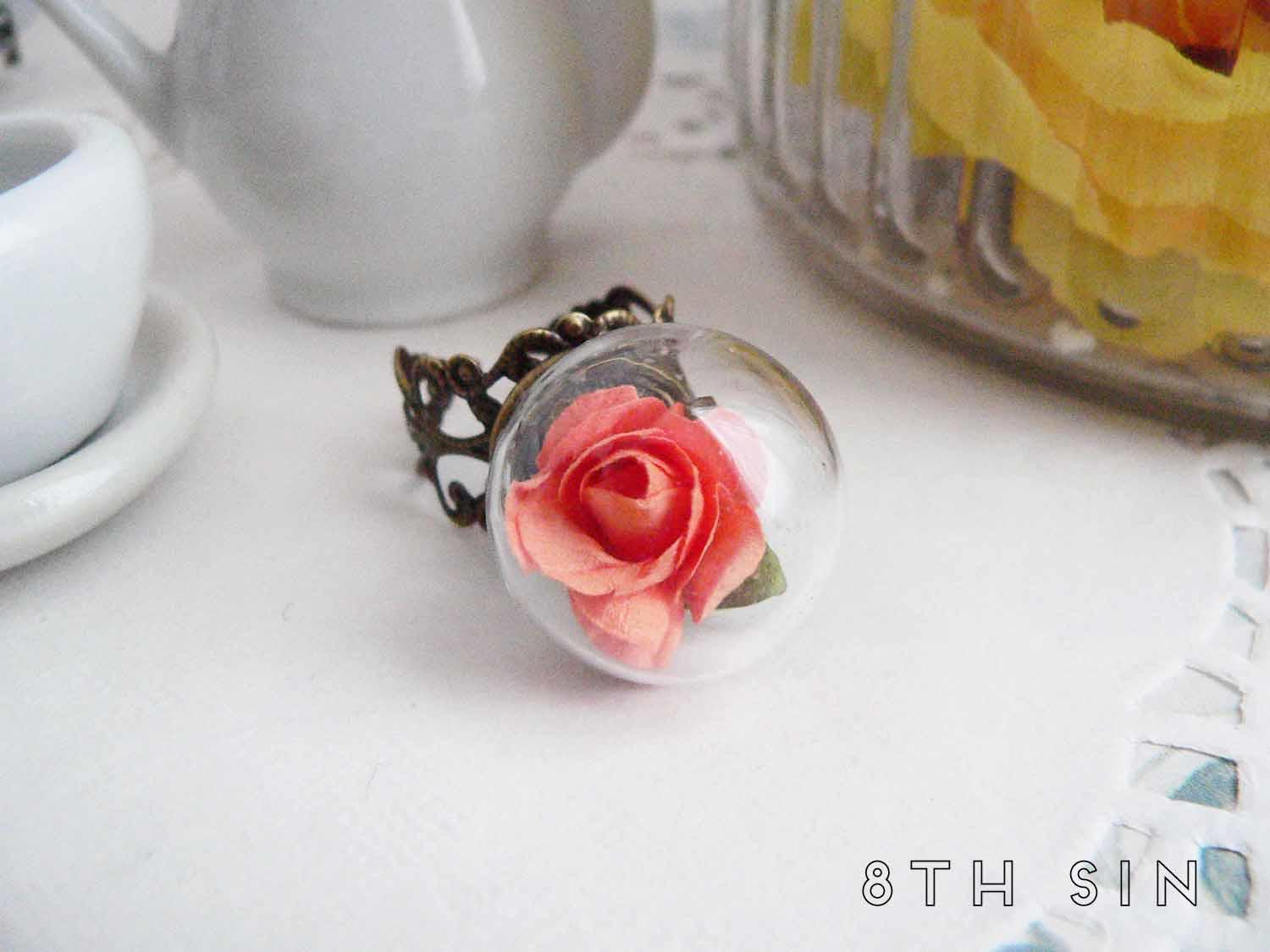 antique bronze and orange rose terrarium ring