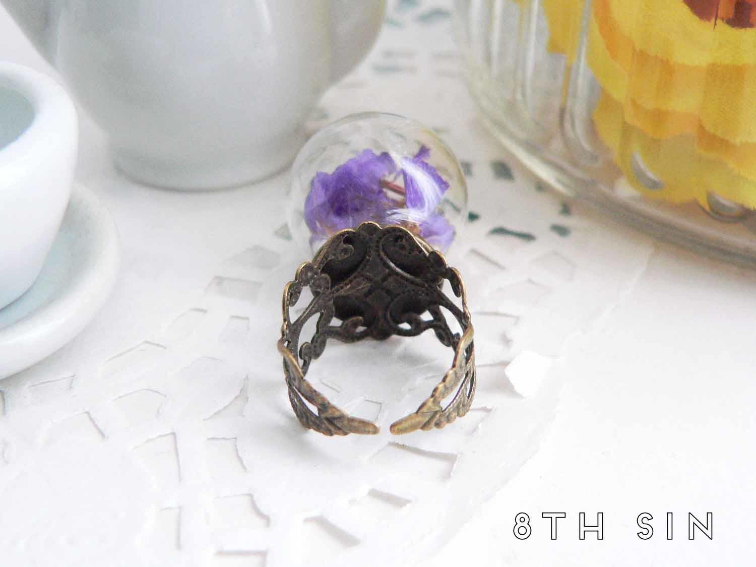 antique bronze and purple wildflower terrarium ring