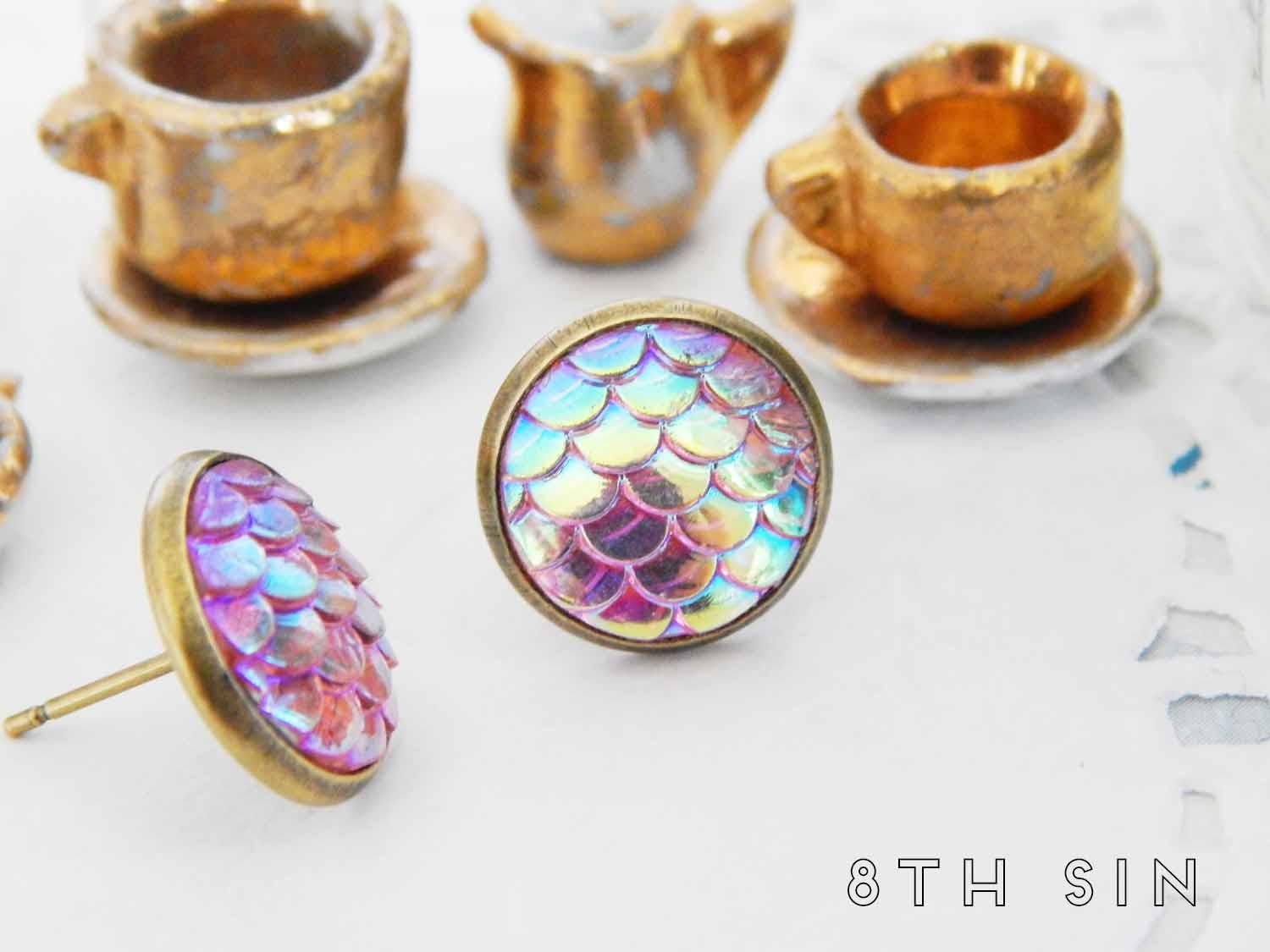 antique bronze and pink mermaid scale stud earrings