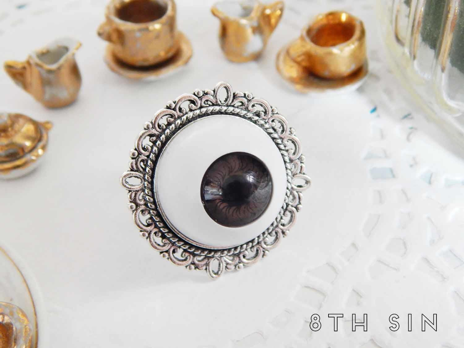 antique silver and brown eyeball ring