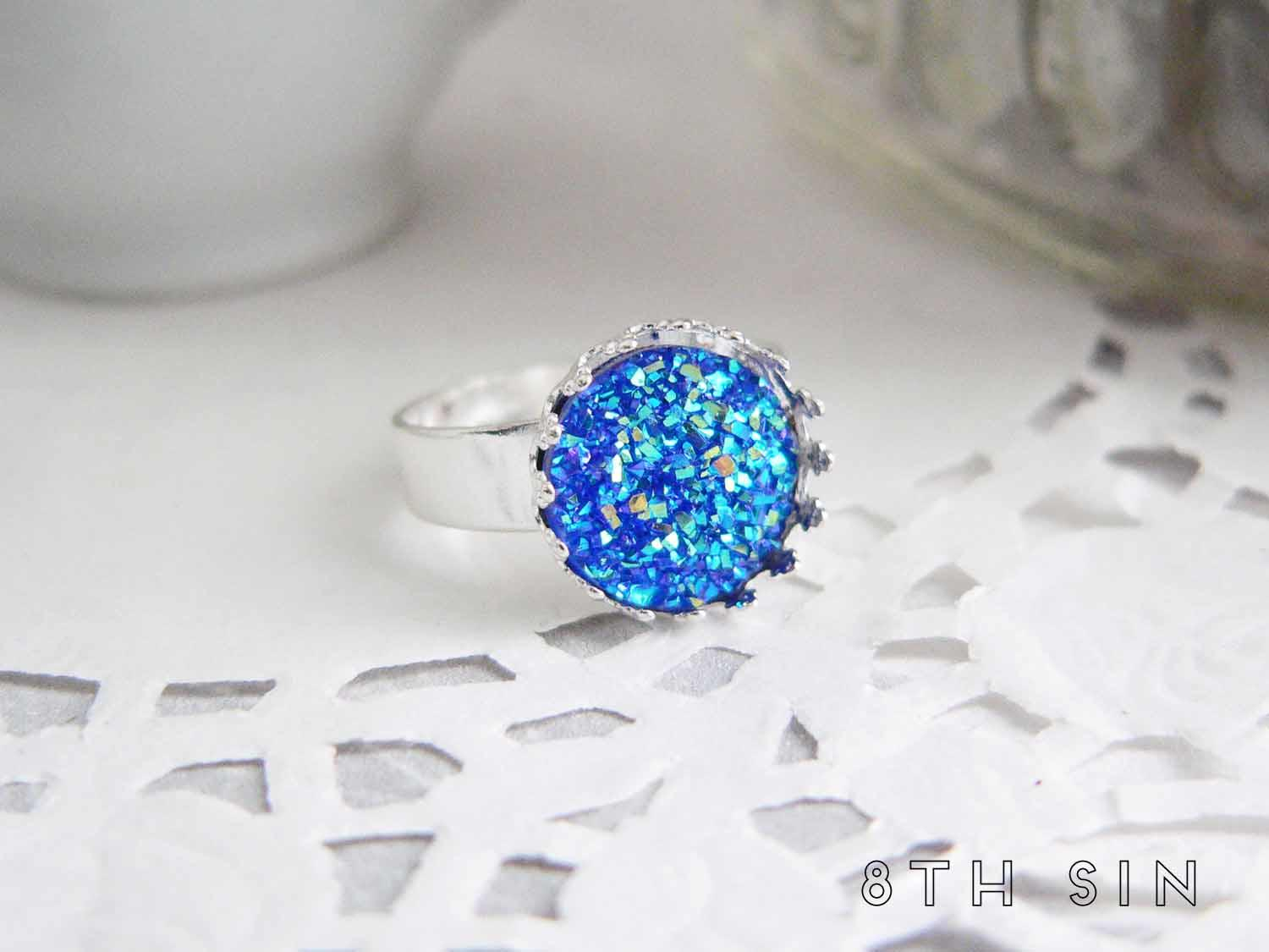 antique silver and blue druzy ring