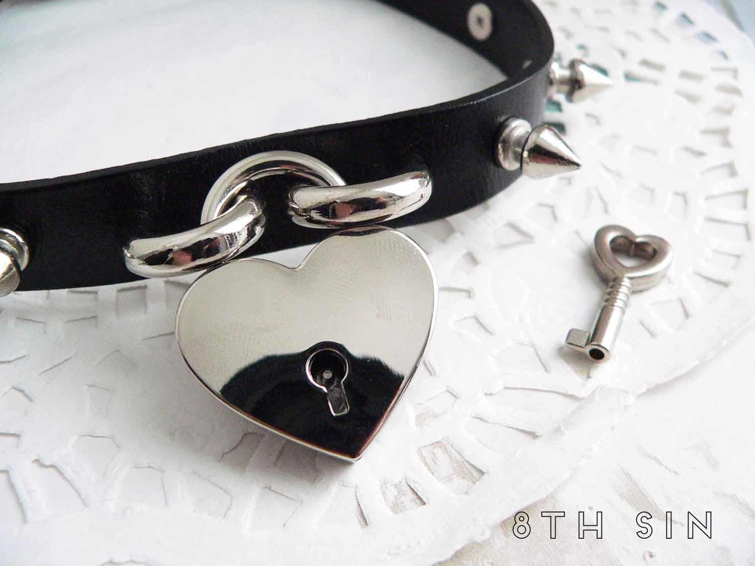 black studded heart padlock choker