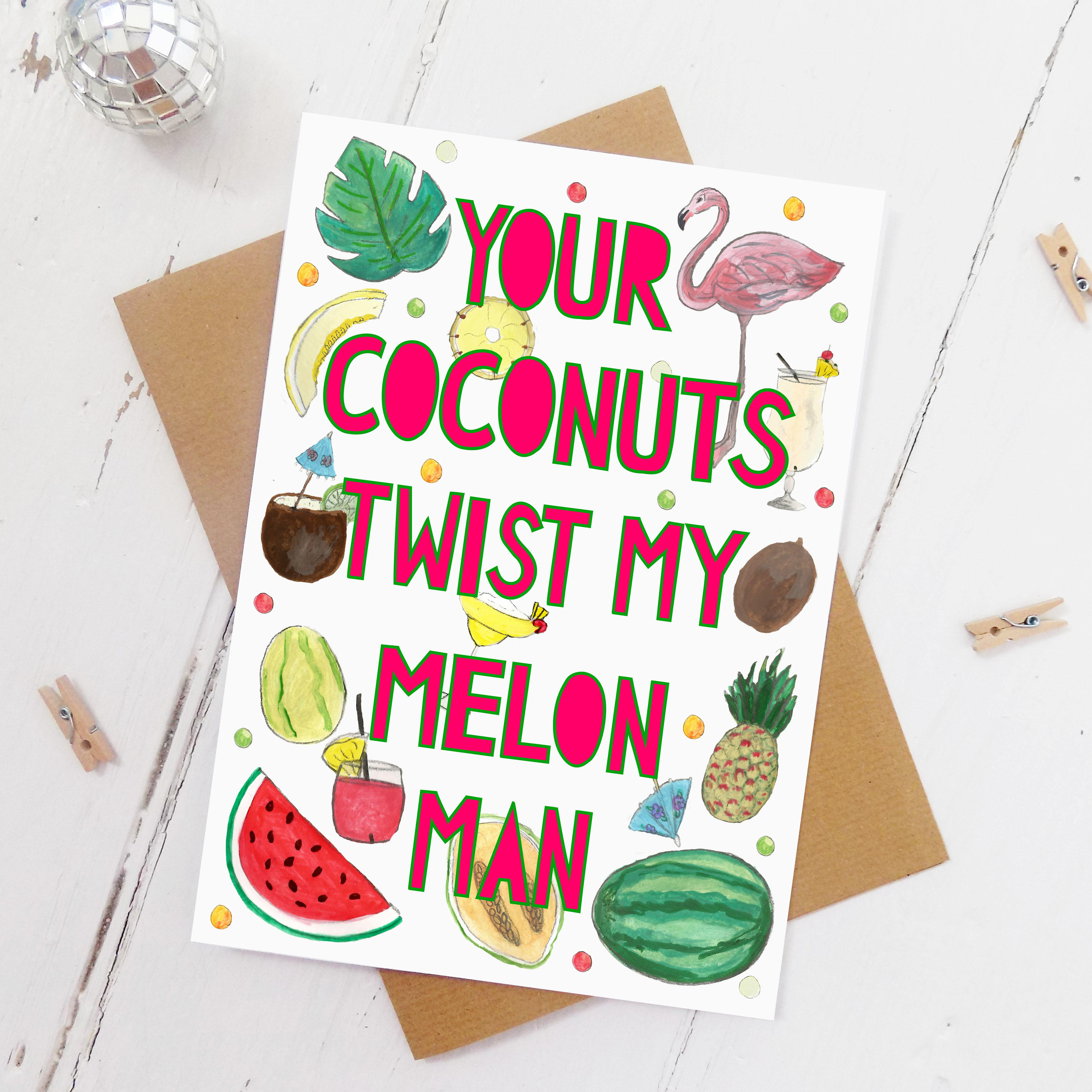 Watermelons Valentines Card Miss Bespoke Papercuts