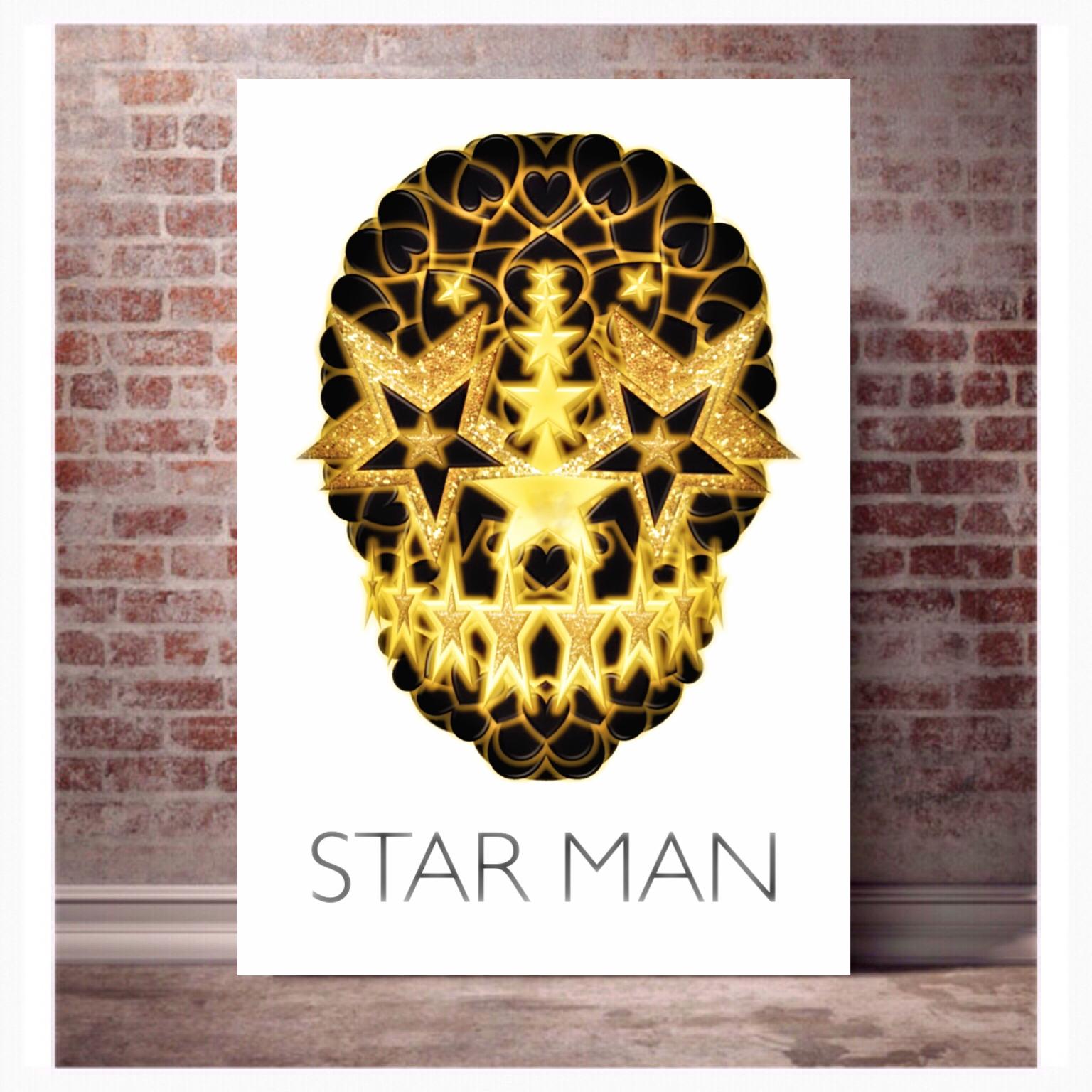 Star Man print Skull Print, Bowie poster art