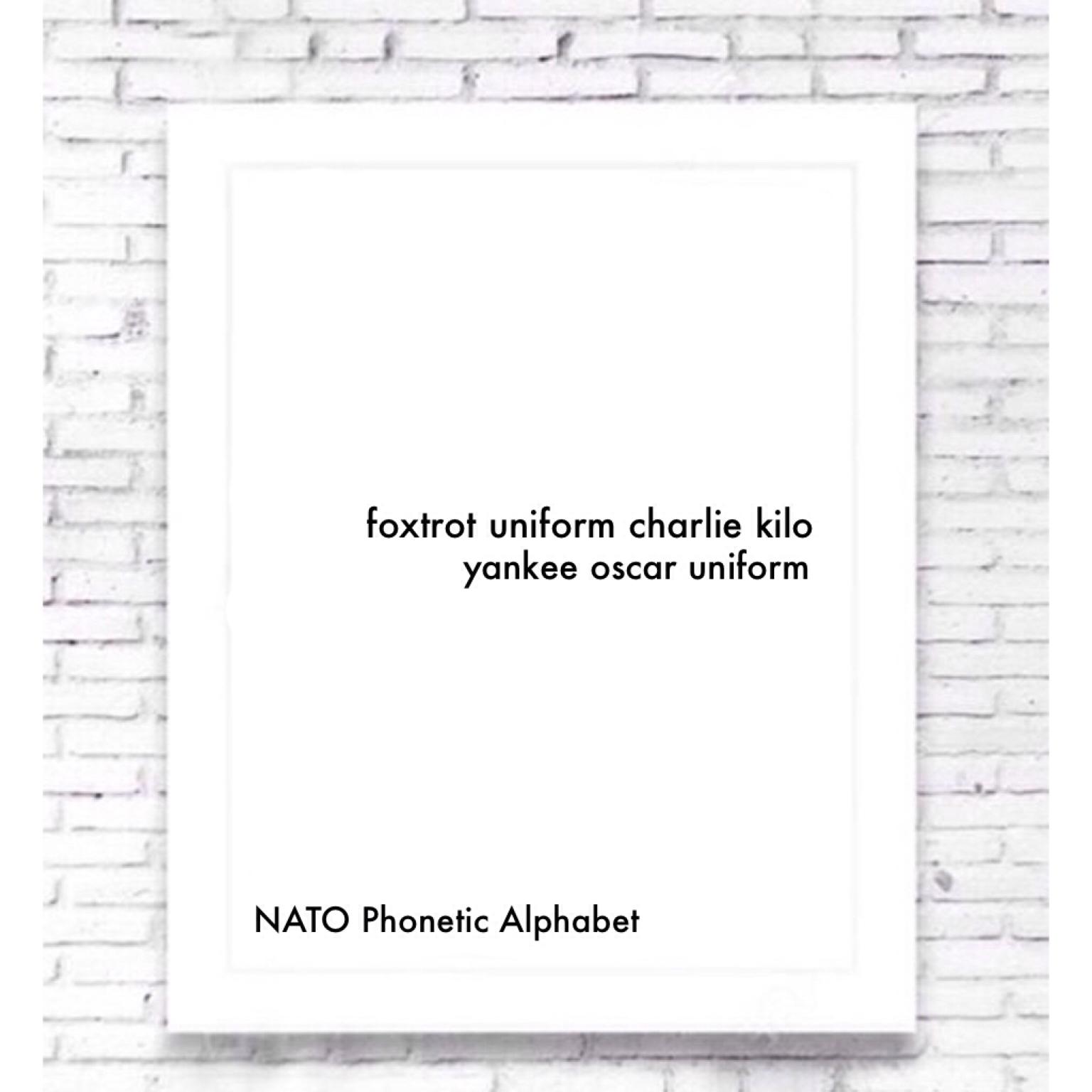 photo about Nato Phonetic Alphabet Printable titled Foxtrot Uniform Charlie Kilo NATO Phonetic Alphabet