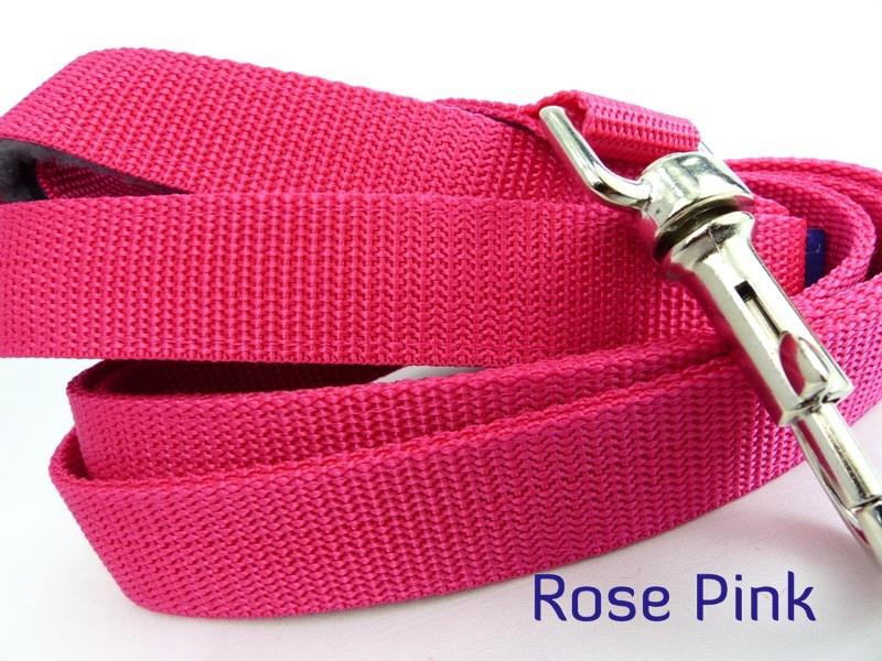 Rose Pink webbing long lead