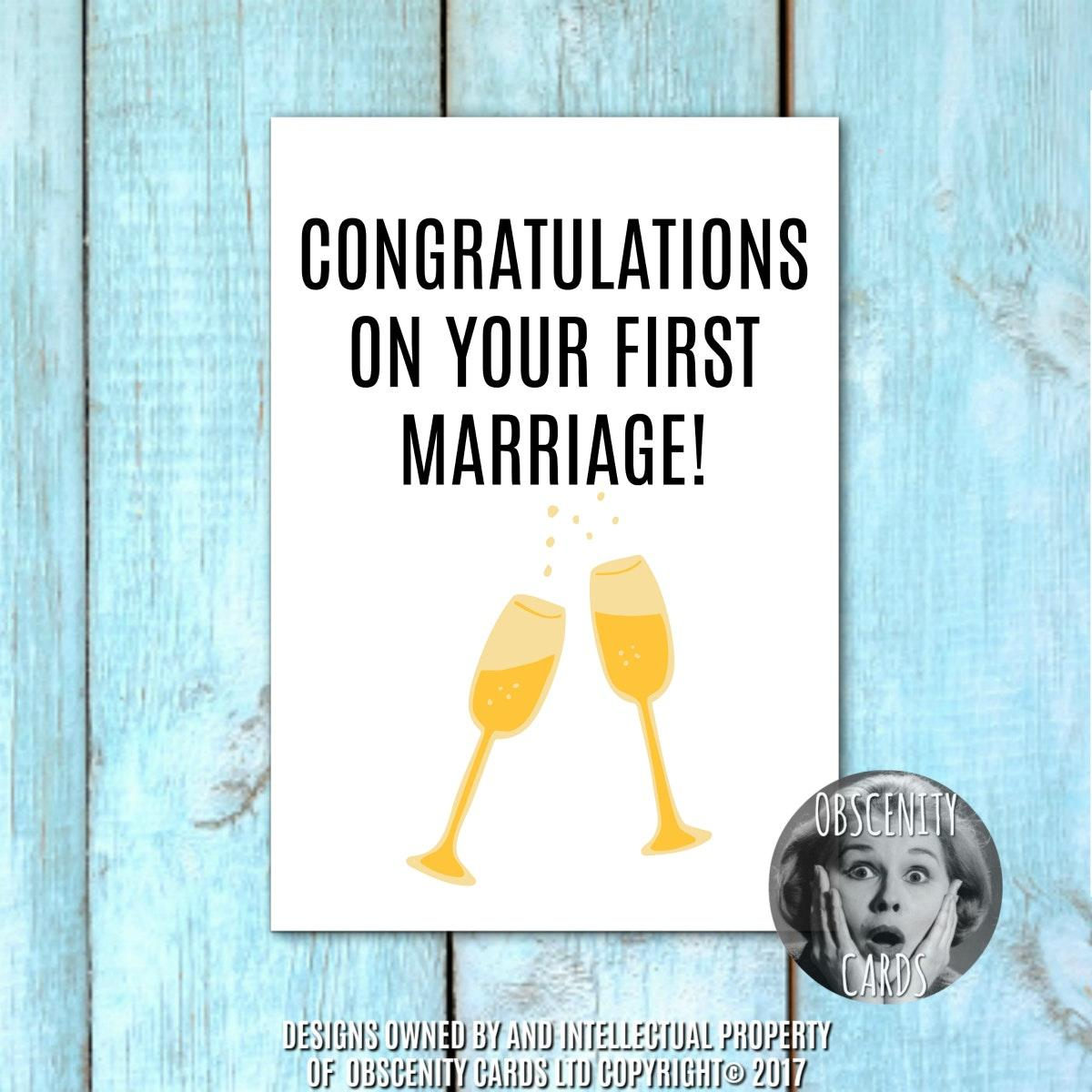 Funny Wedding Card Congratulations On Your First Marriage