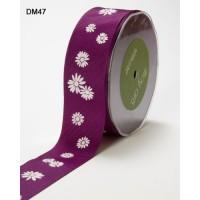 1.5 Inch Violet Grosgrain with White Daisy Print May Arts Ribbon