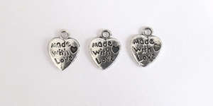 Made with Love Heart Charm - Silver Plated