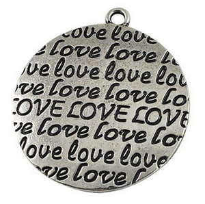 38x34mm Love Pendant - Silver Plated