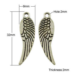 ?32x9x2mm Angel Wing  Pendant - Antique Silver Plate
