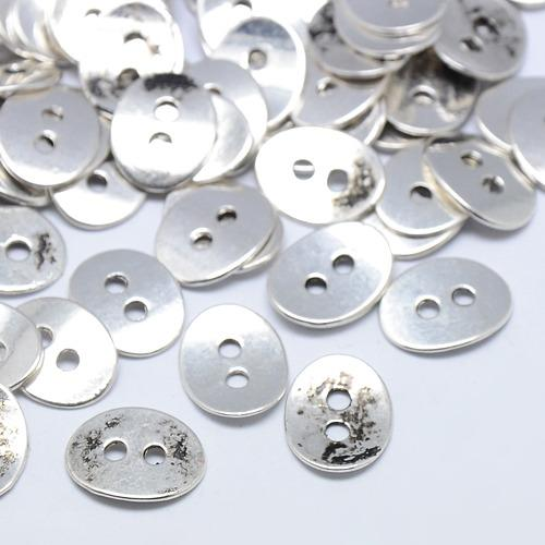 14x11x1mm Oval Two Hole Button - Ant. Silver Plate