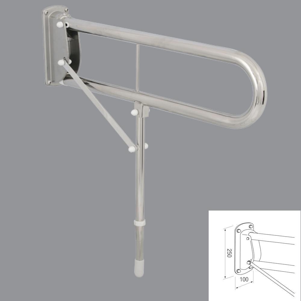 Double Arm Hinged Rail W Drop Down Leg In 35mm Stainless Steel