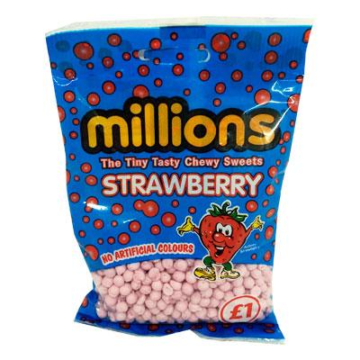 Lewis Food Wholesalers- Millions Bags Strawberry x12