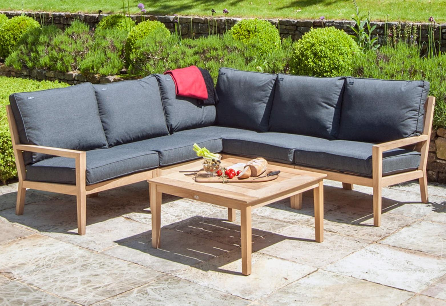 Garden Lounge Corner Sofa Set In Roble Hardwood With Grey