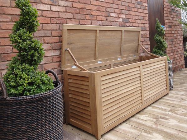 Teak Garden Storage Box Or Cushion, Wooden Garden Storage Box Uk
