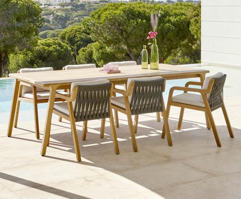 Modern Teak Garden Dining Set With 2 4m, Modern Outdoor Dining Sets For 8
