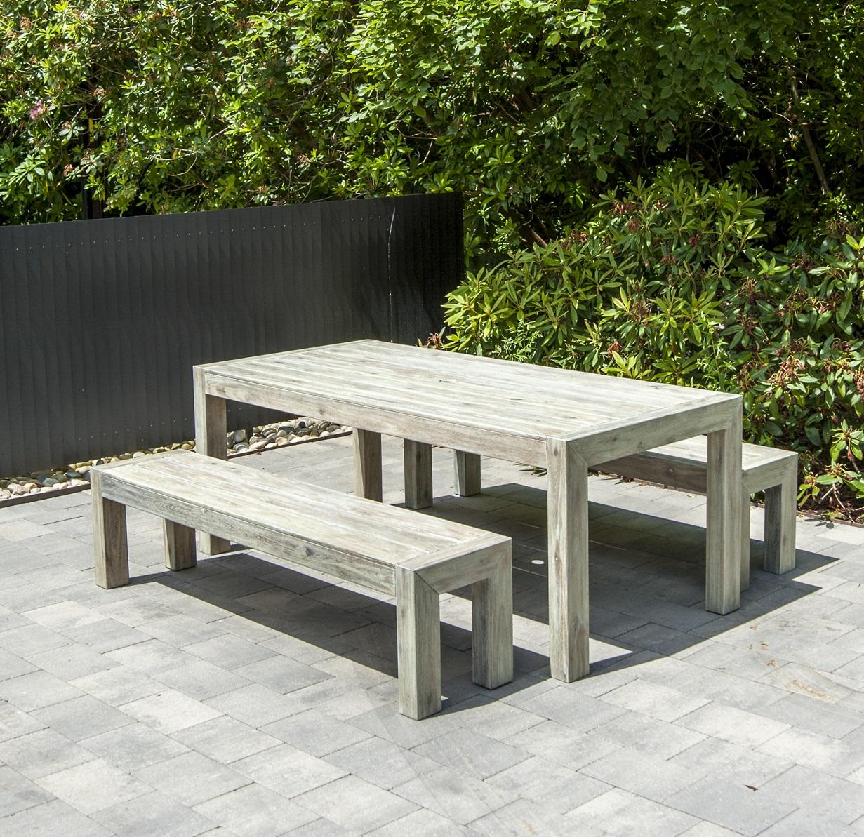 Modern wooden garden dining picnic table and benches in grey hardwood