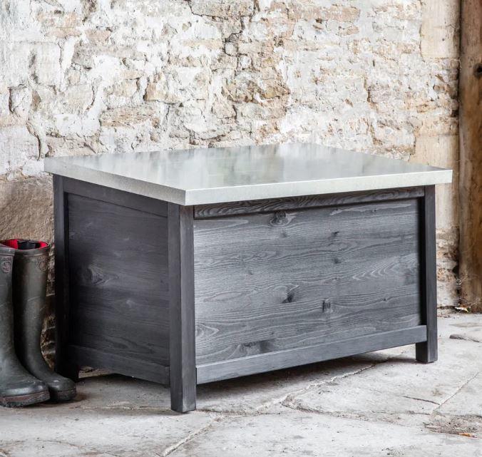 Outdoor Storage Box In Spruce Hardwood, Outdoor Wooden Storage Box Waterproof