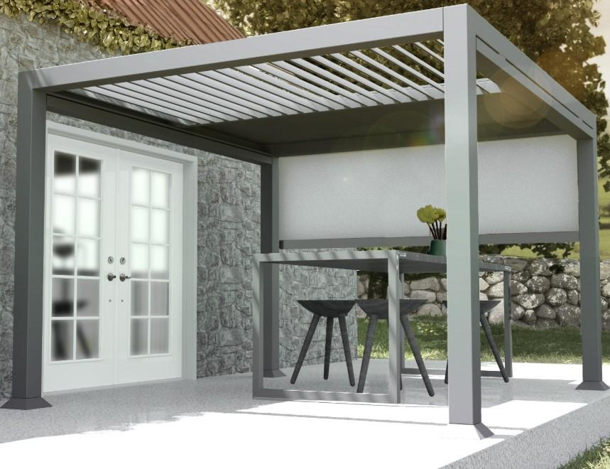 High Quality Contemporary Garden Gazebo With A Slatted Roof That Can Be Opened And Closed