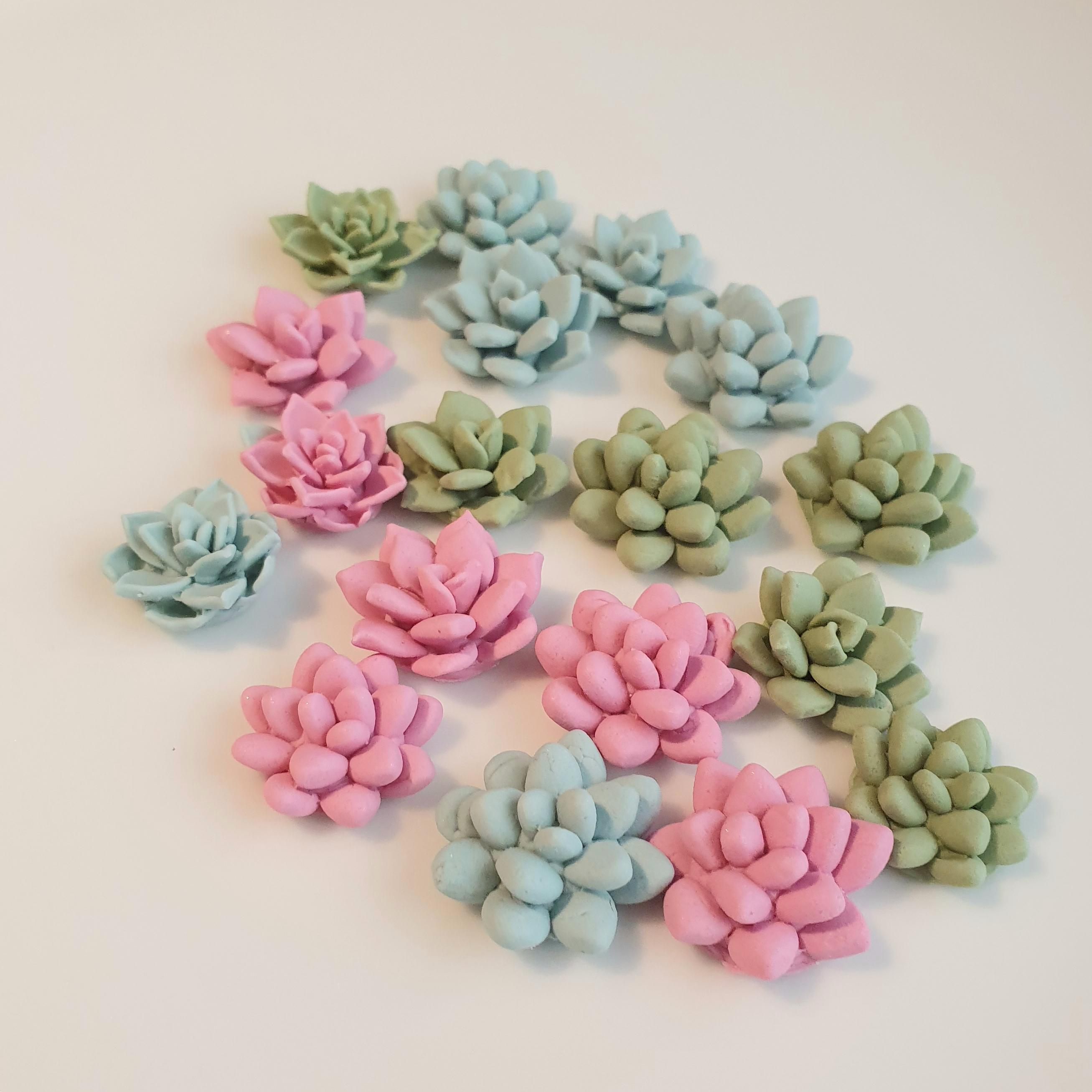 18 Edible Sugar Succulents In Dusky Pink And Greens
