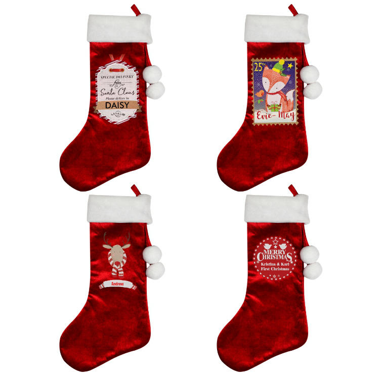 Luxury Christmas Stockings Uk.Personalised Luxury Stockings 4 Designs