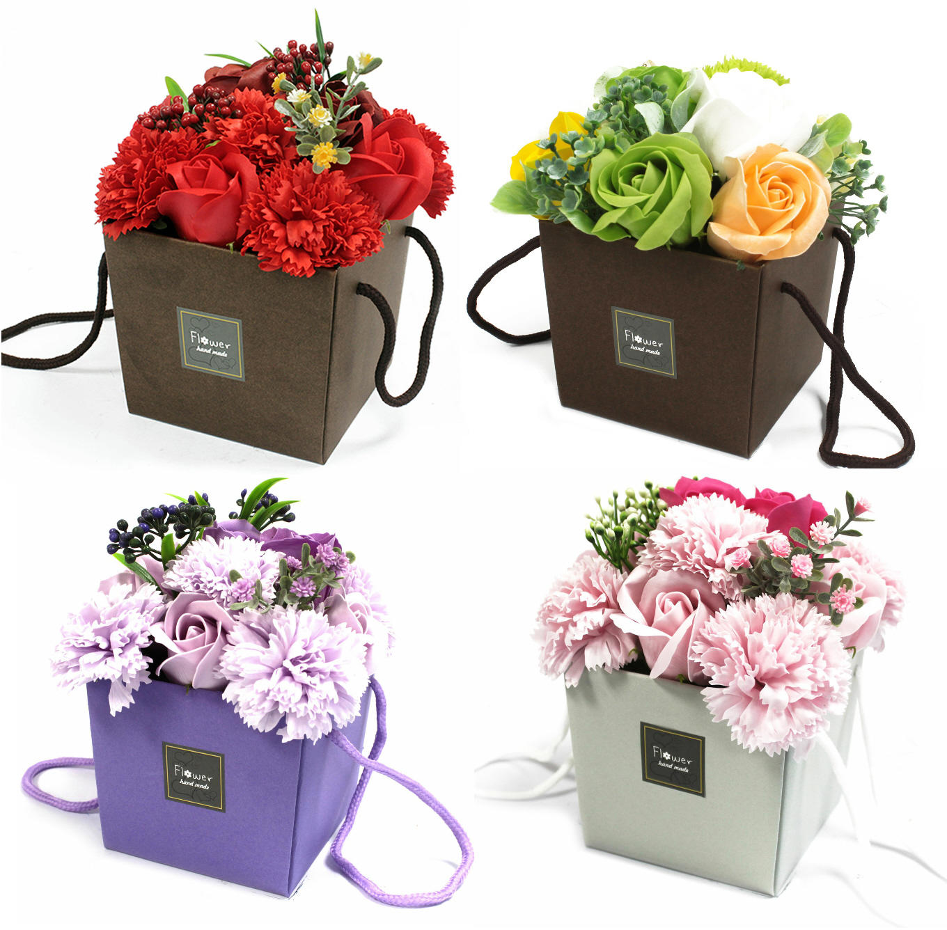 Rose & carnation soap flower bouquet (4 colours)