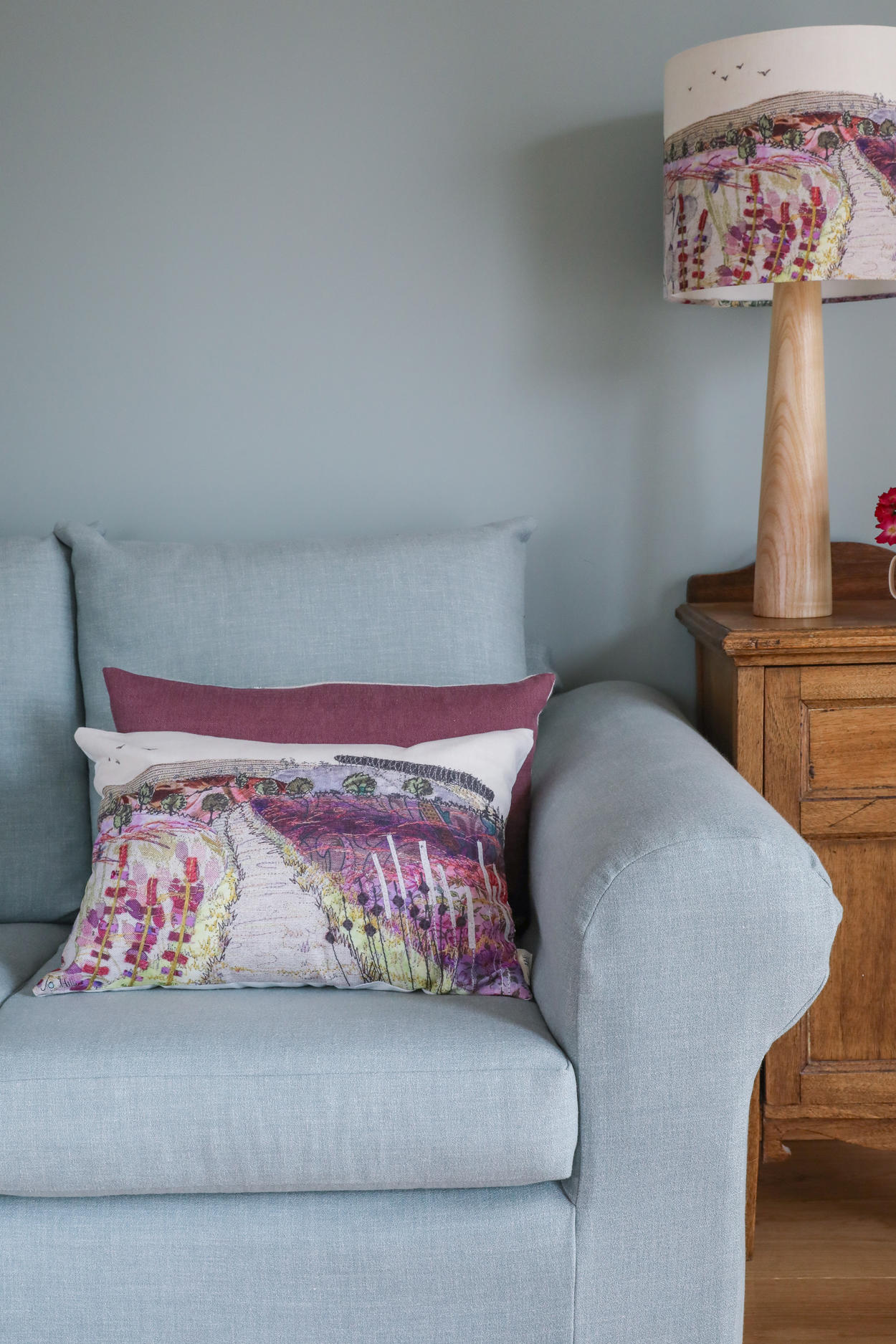 Purple and pink long Cannock Chase cushion