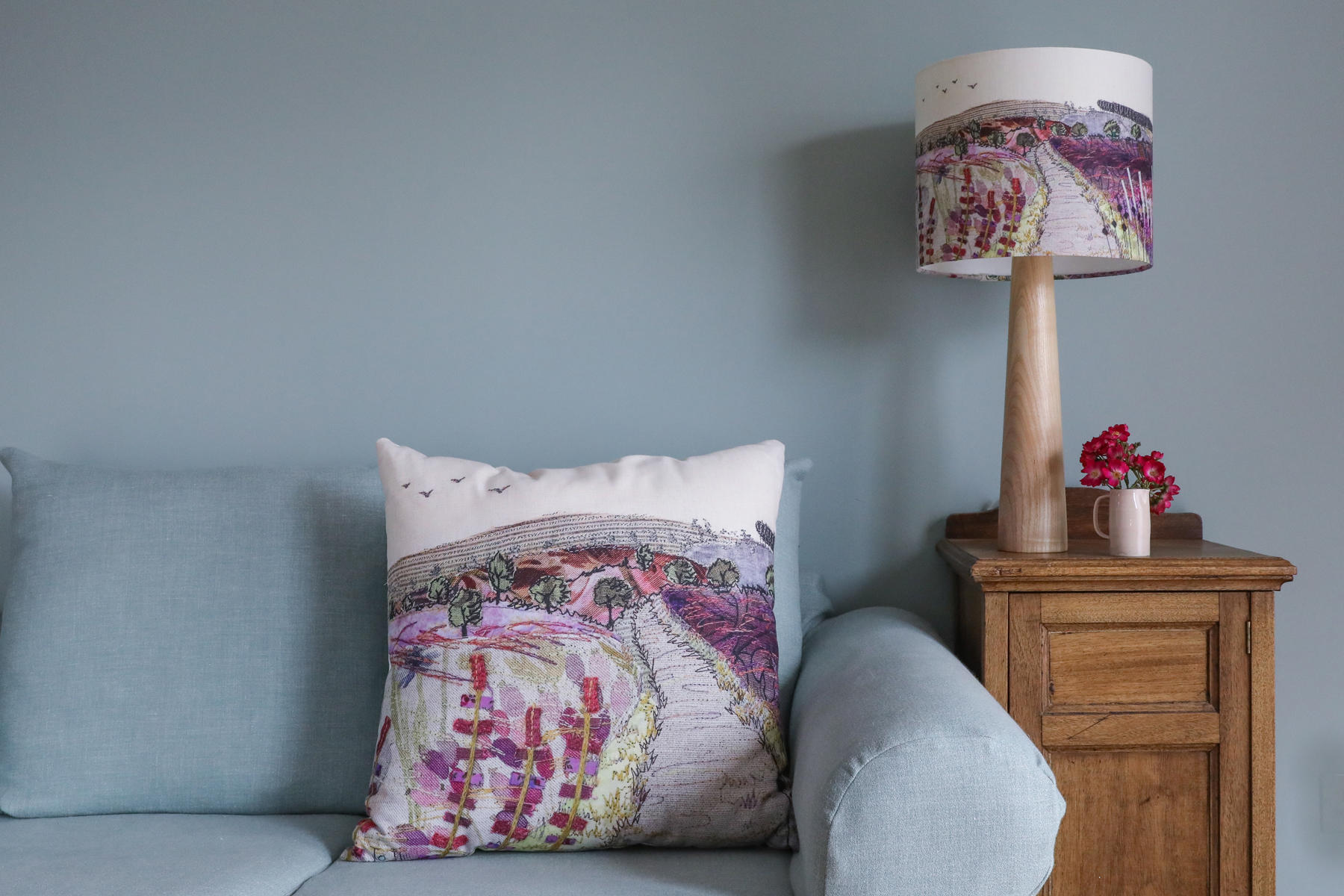 Purple and pink large Cannock Chase cushion