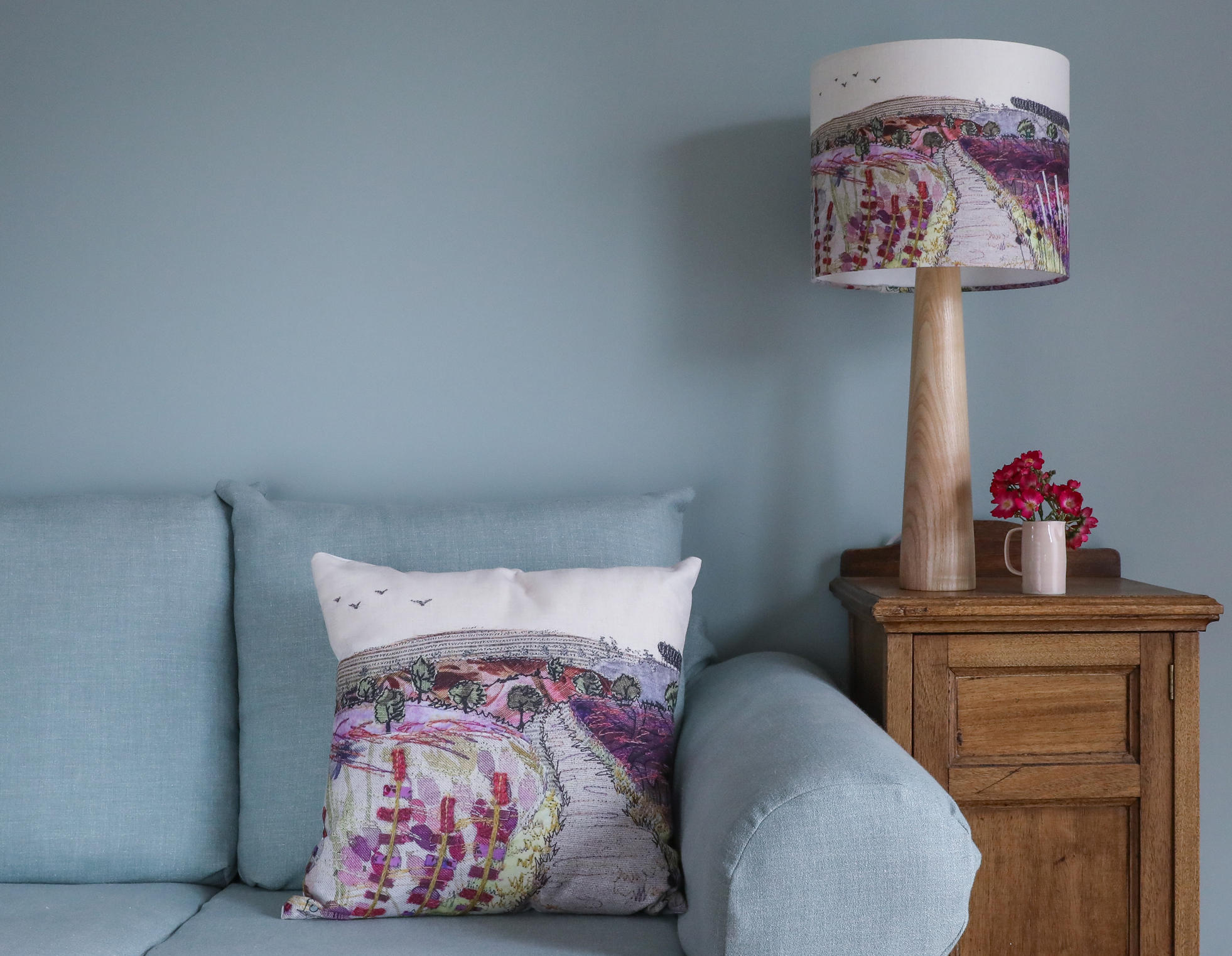 Purple and pink medium Cannock Chase cushion