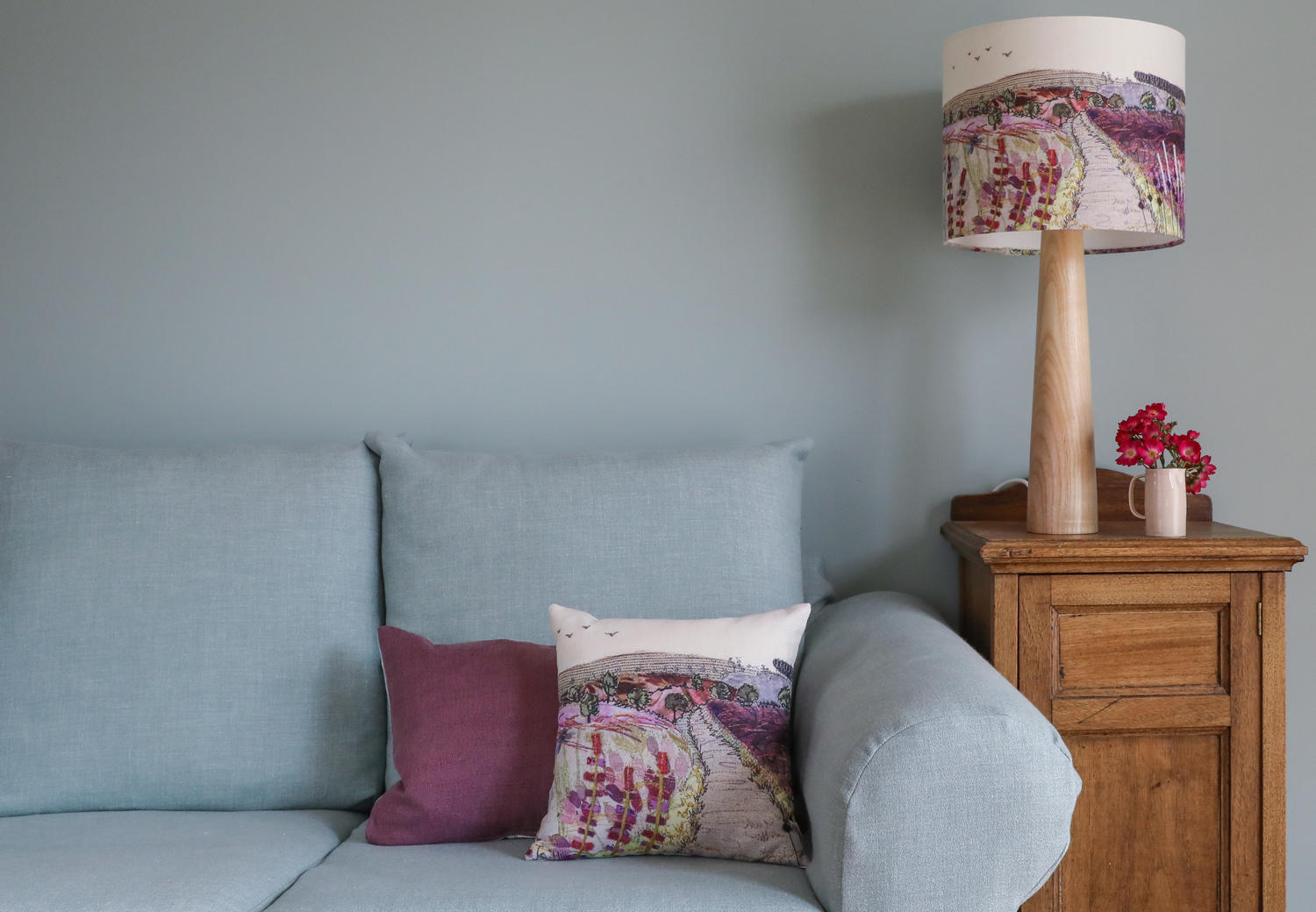 Purple and pink small Cannock Chase cushion
