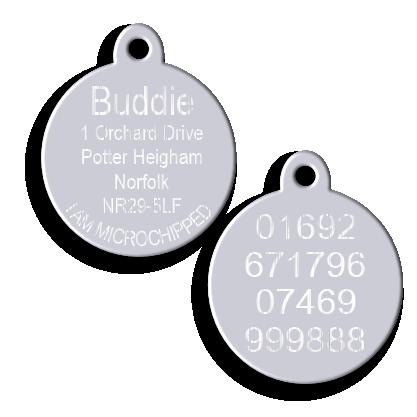 612a32118ba Silver Aluminium Round Disc Pet Tag with Tab | Deep Engraved