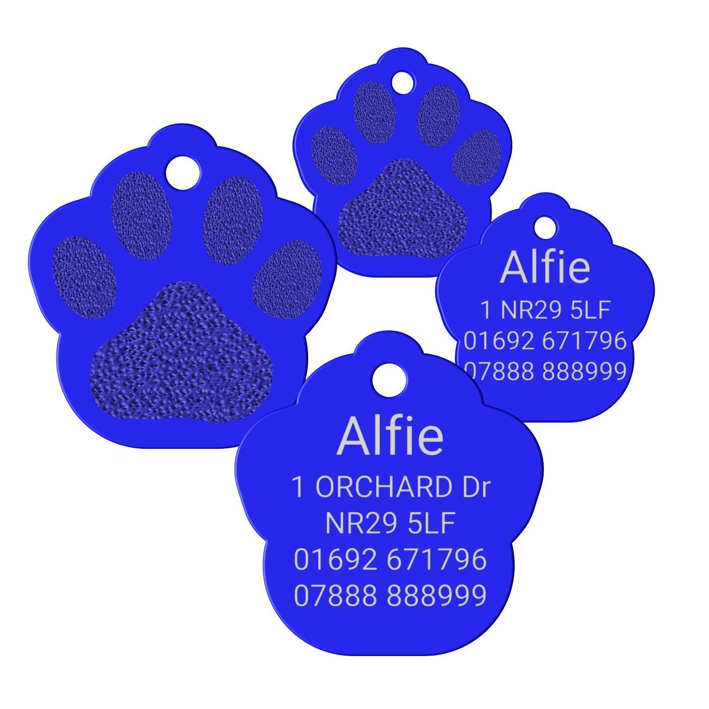 Blue Paw Print Pet Id Tag Aluminium Premium