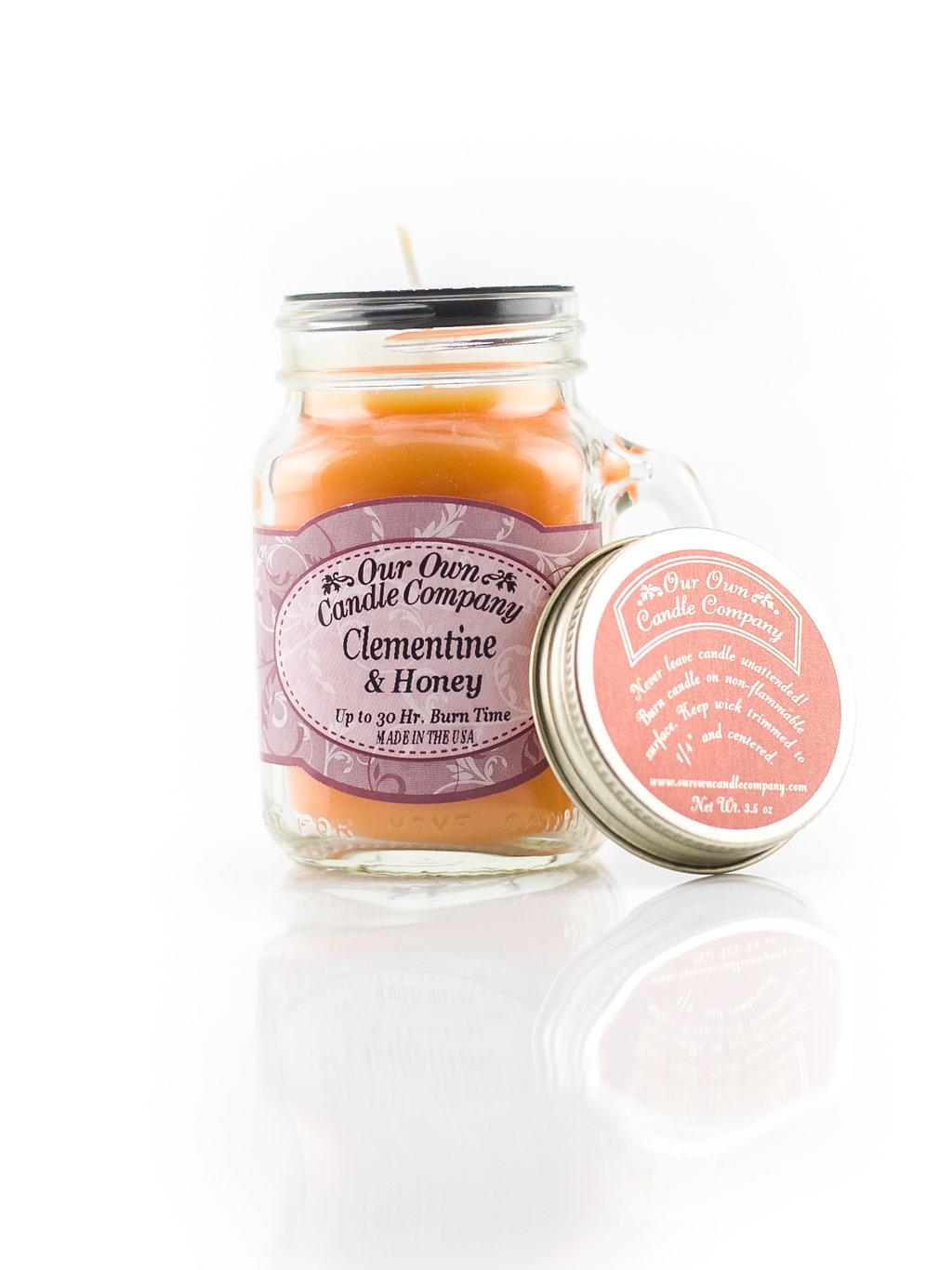 Mini Mason Jar Candle Clementine /& Honey Our Own Candle Company 30Hr Burn