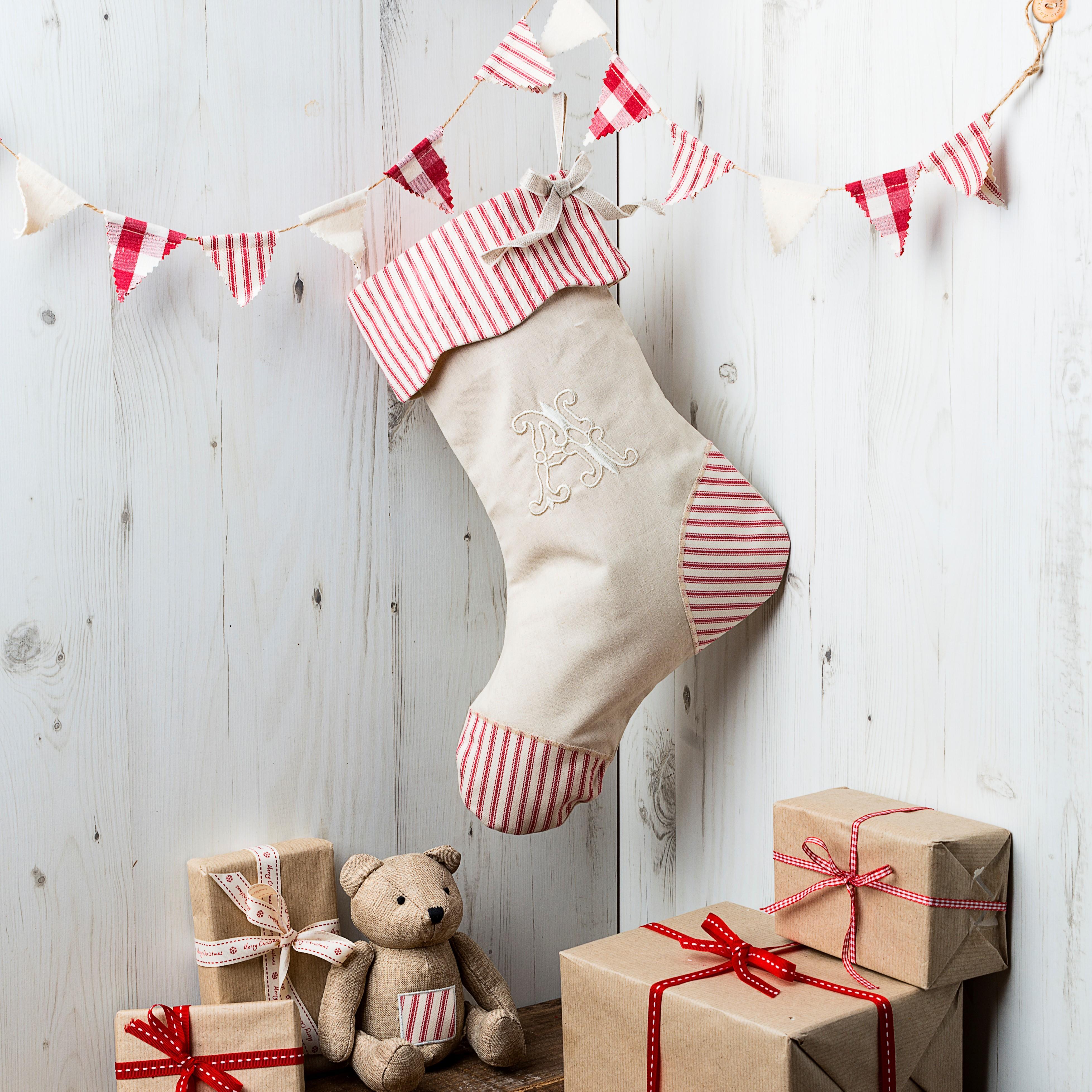 Monogrammed Linen Christmas Stocking