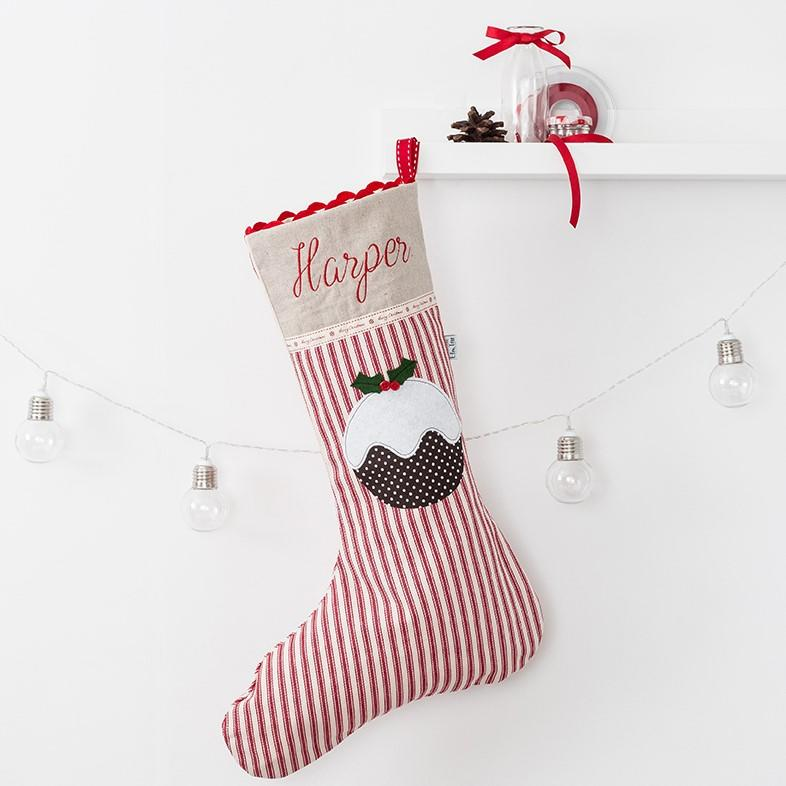 Luxury Christmas Stockings Uk.Personalised Christmas Stocking With Christmas Pudding Applique