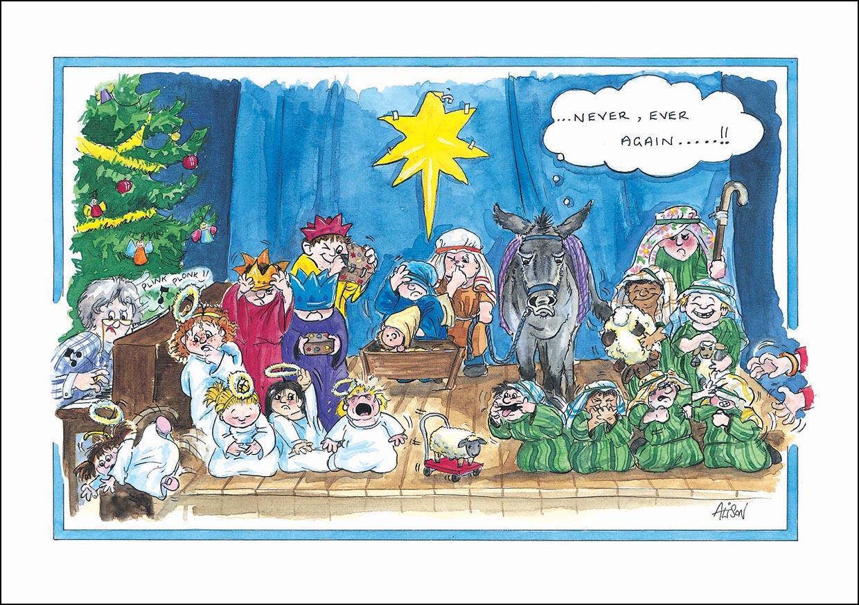 Nativity scene. Humorous Christmas Card.