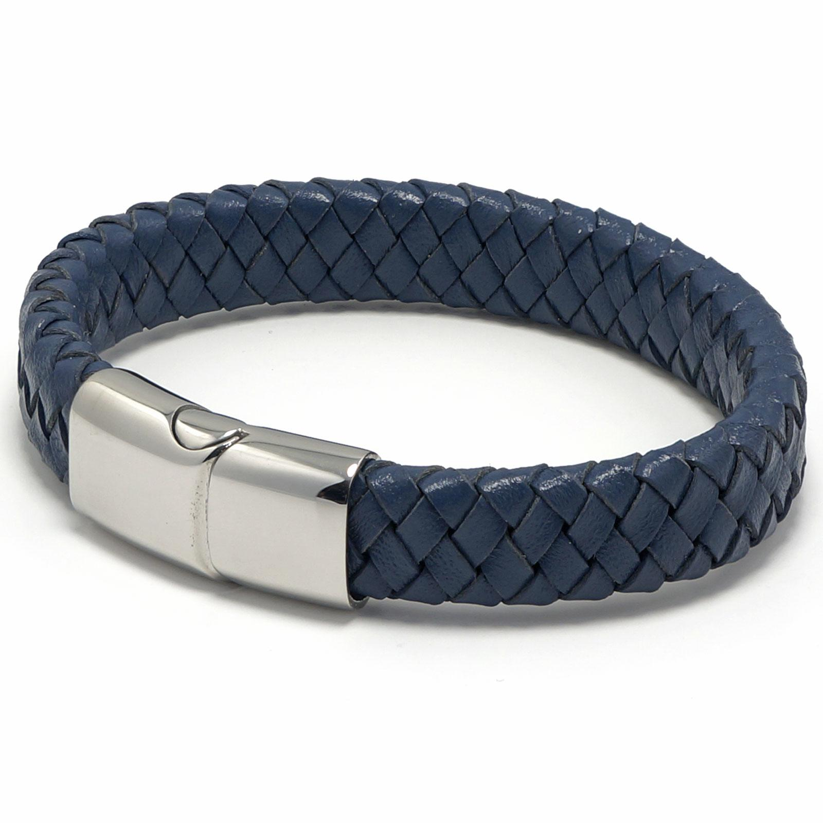 Mens Boys Denim Blue Braided Leather