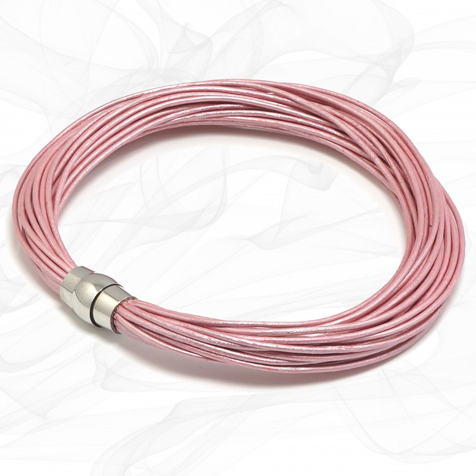 Pink Multi Strand Wrap Leather Bracelet