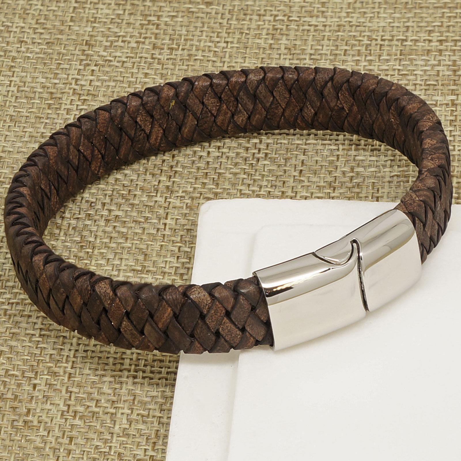 Mens Vintage Brown Leather Bracelet
