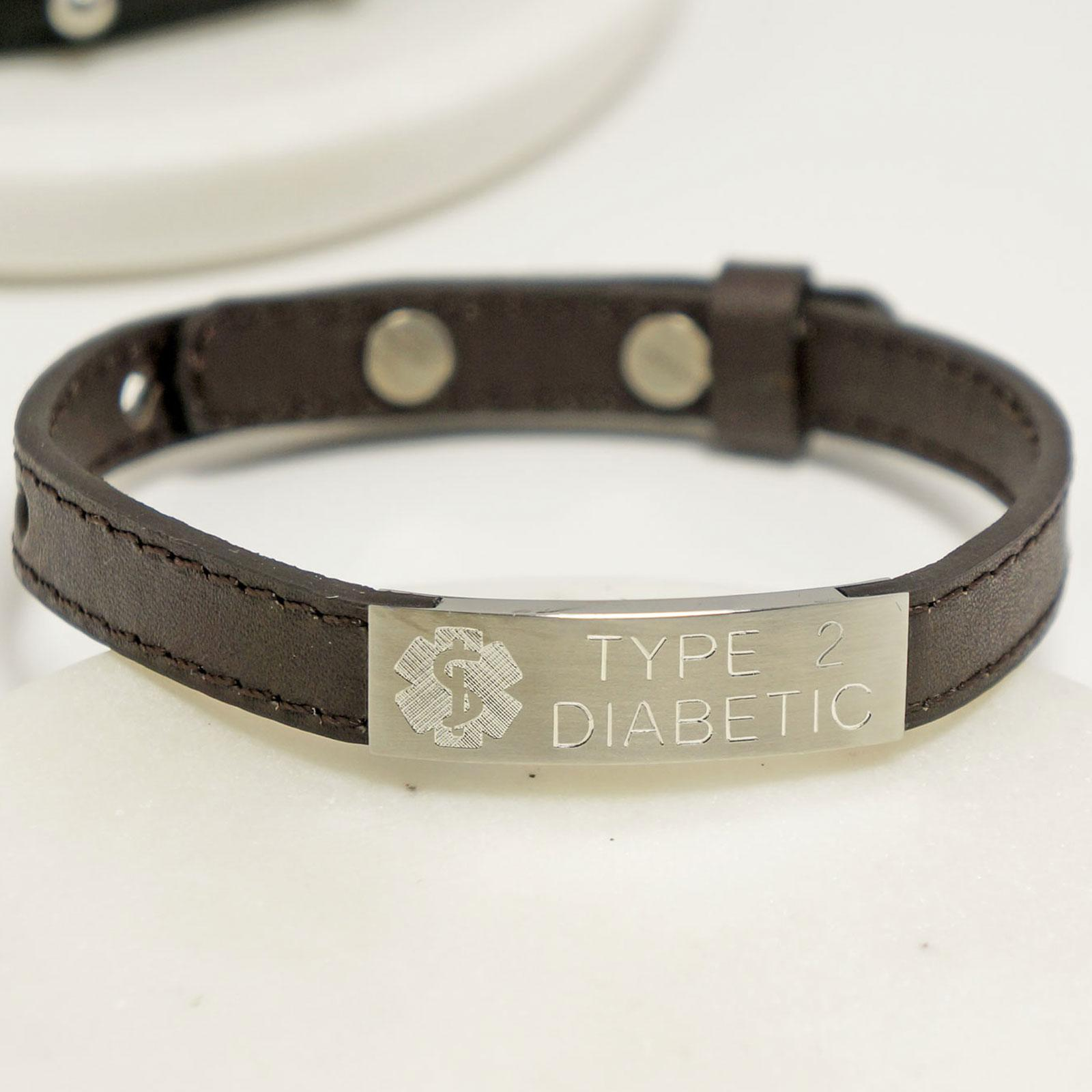 Medical Alert Bracelets >> Personalised Adjustable Medical Alert Leather Bracelet Any Engraving