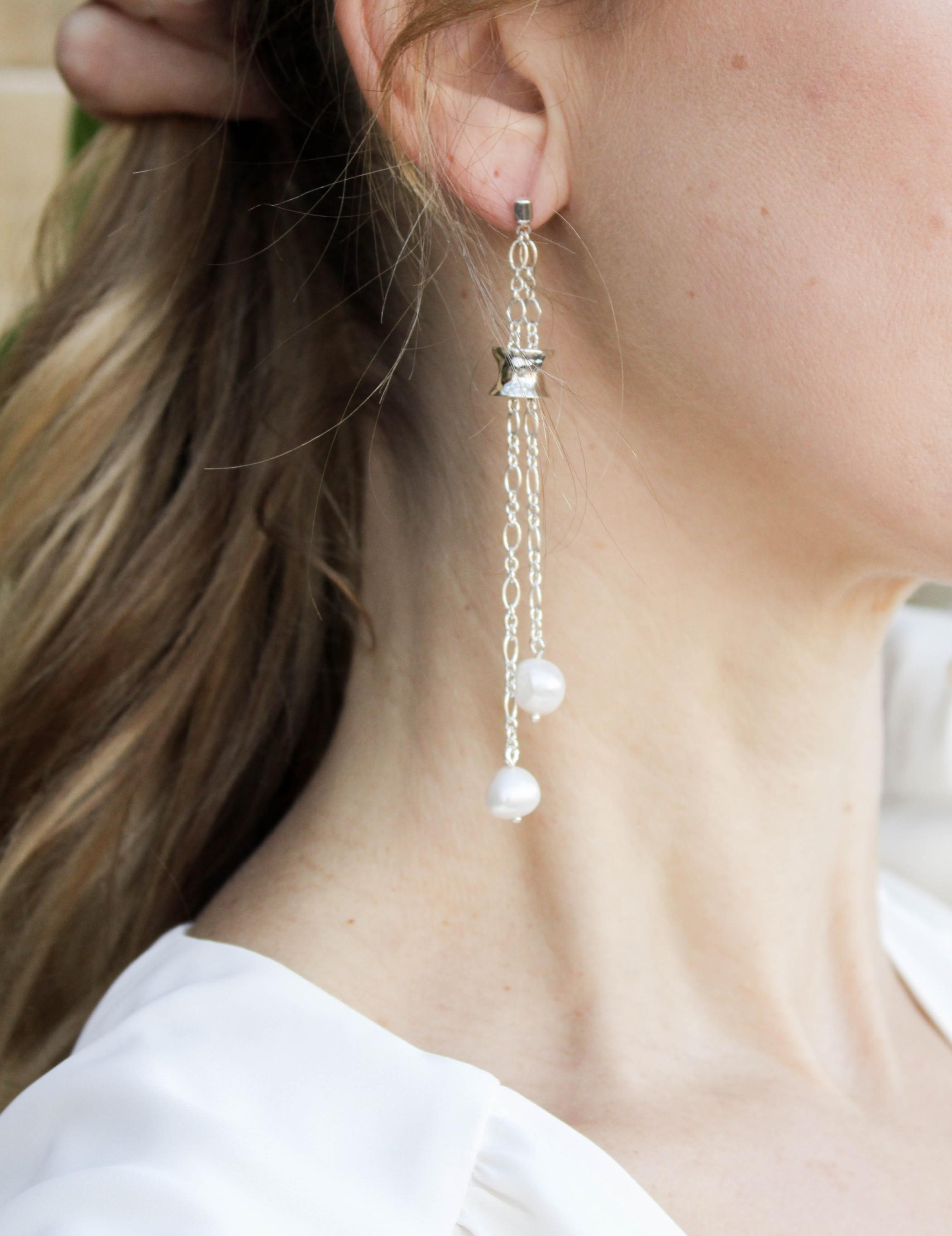 Baroque Pearl Earrings in Double Silver Chain and Handmade Solid Silver Bead with Diamond
