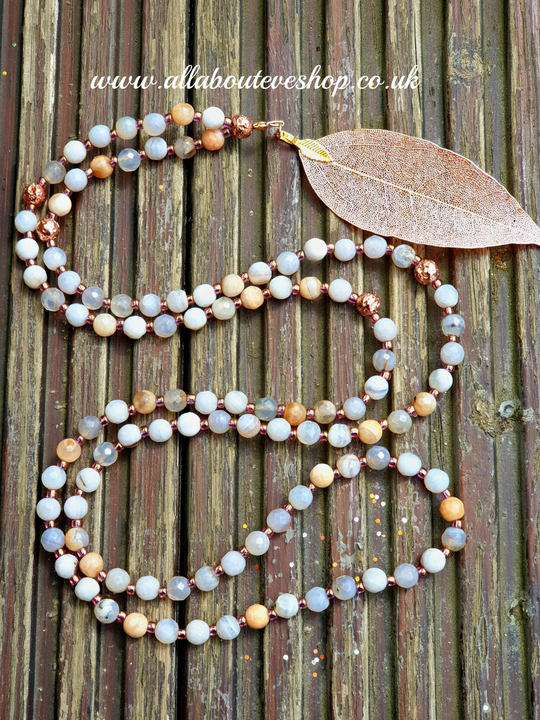 Botswana Agate Mala Necklace