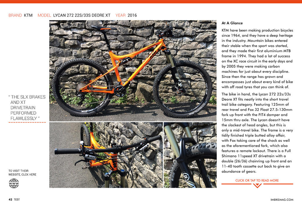 KTM Lycan 272 - reviewed in IMB Magazine