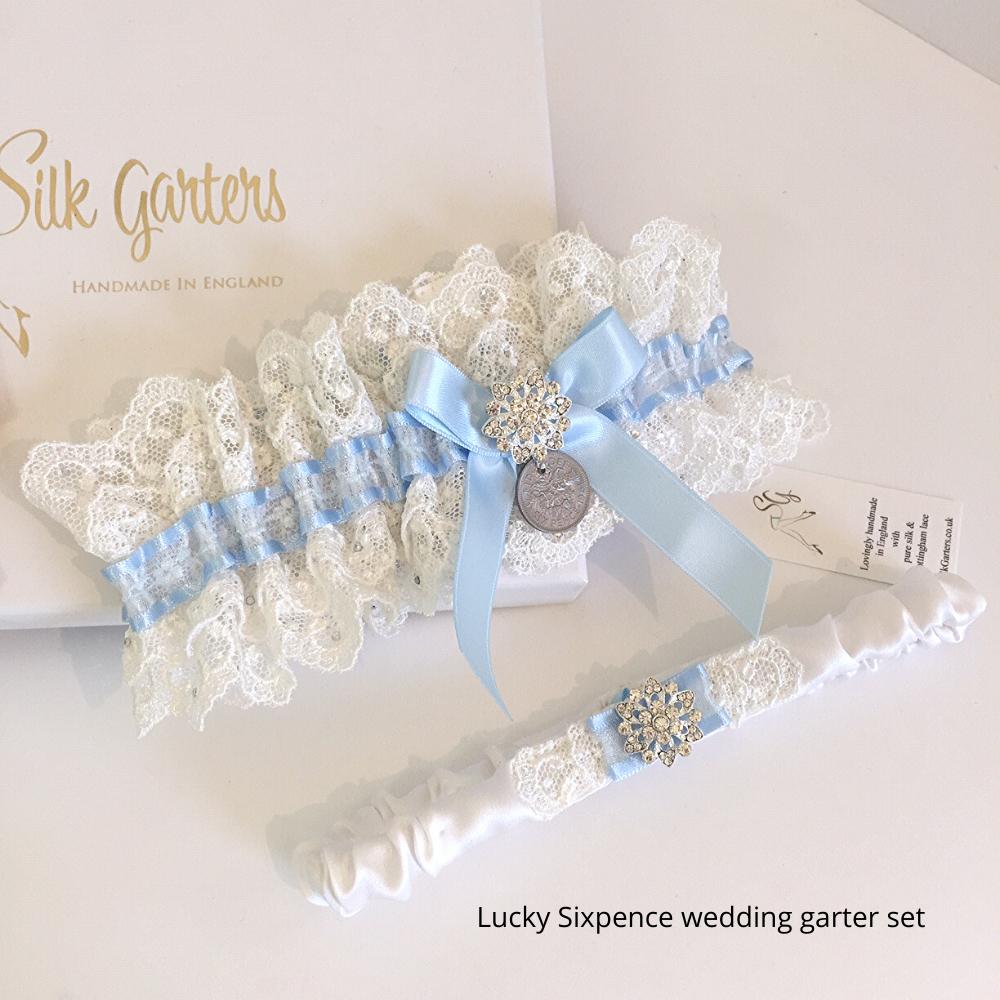 Something Blue Wedding Garter Luxe Set Nottingham Lace And Sixpence