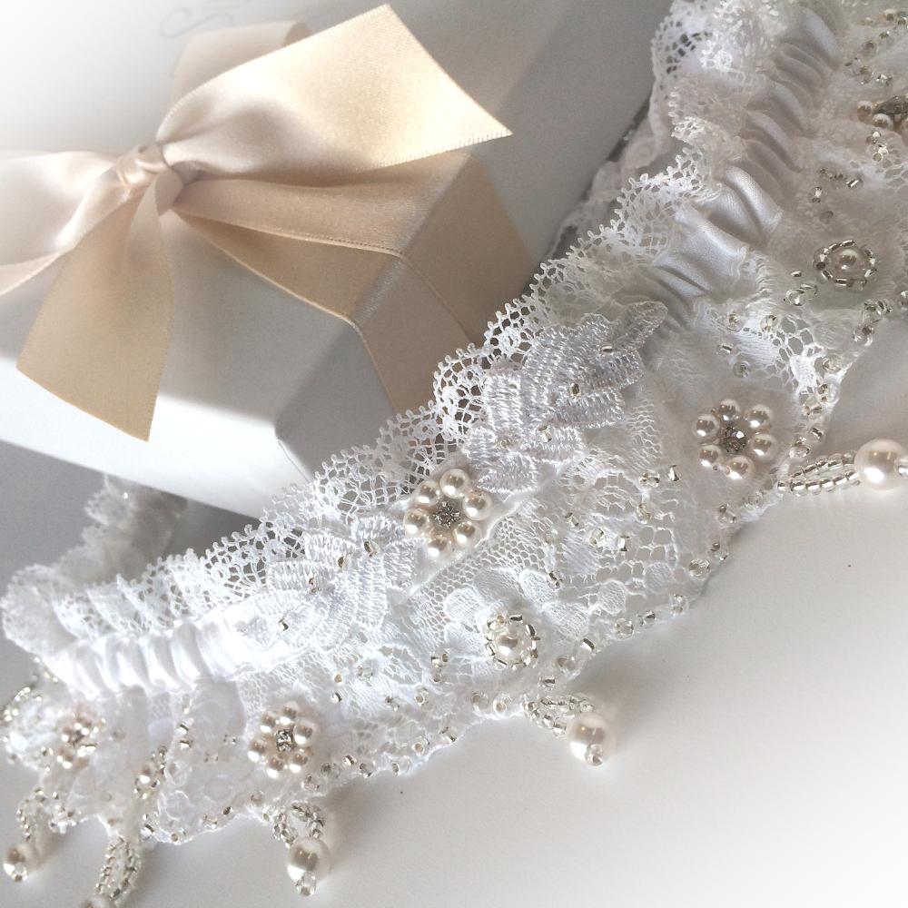 White Wedding Garter: * Cherish *, Bespoke White Wedding Garter Set