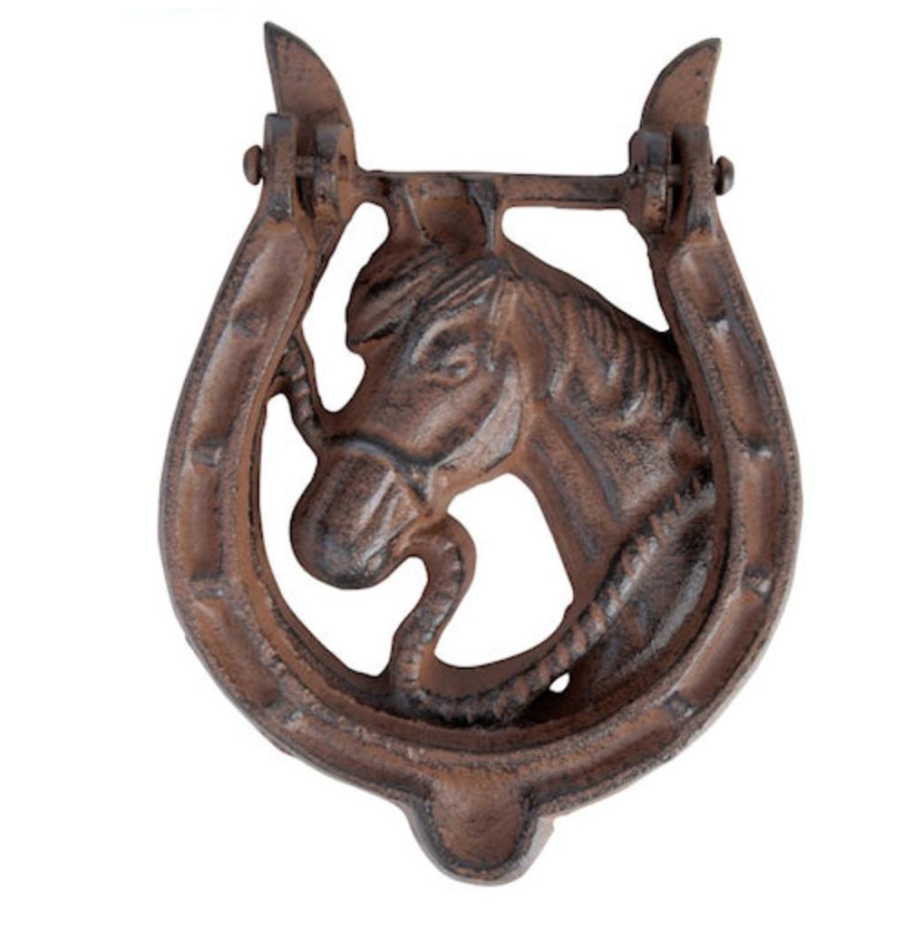 Horse Head In Horse Shoe Door Knocker